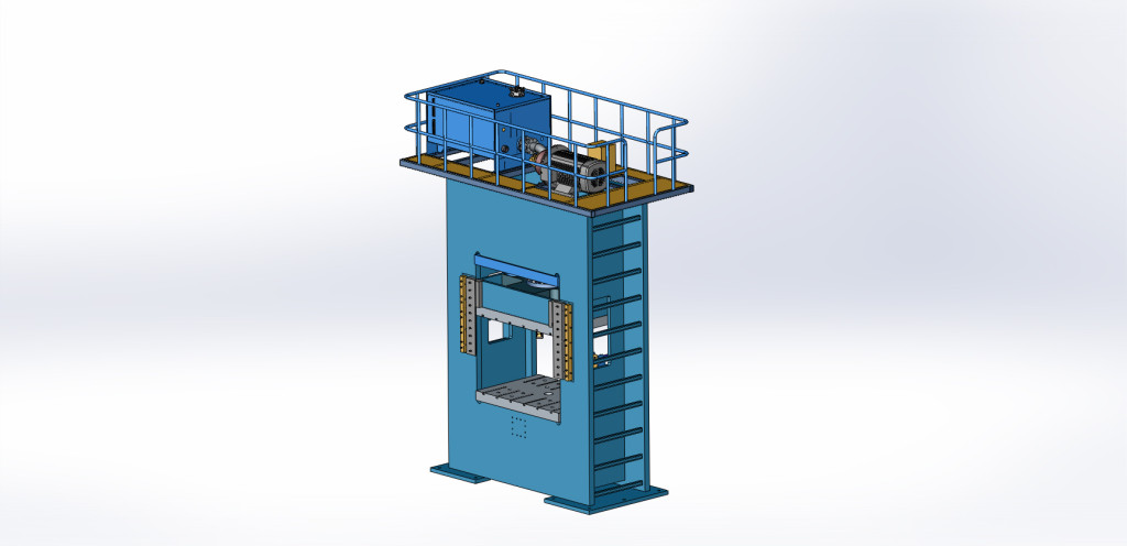3D drawing of the 1600 ton press